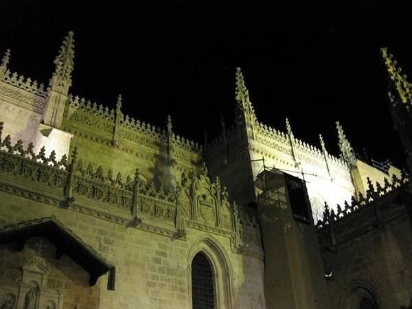 Photograph - Great Ancient Gothic Church Exterior At Night Granada Spain by John Shiron