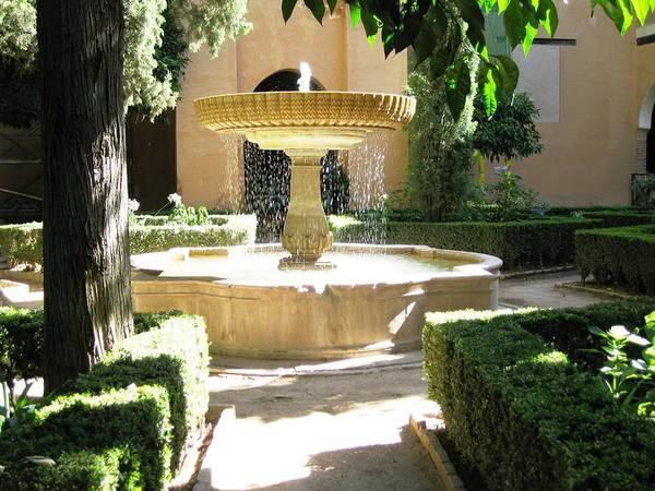 Photograph - Great Courtyard Water Fountain Granada Spain by John Shiron