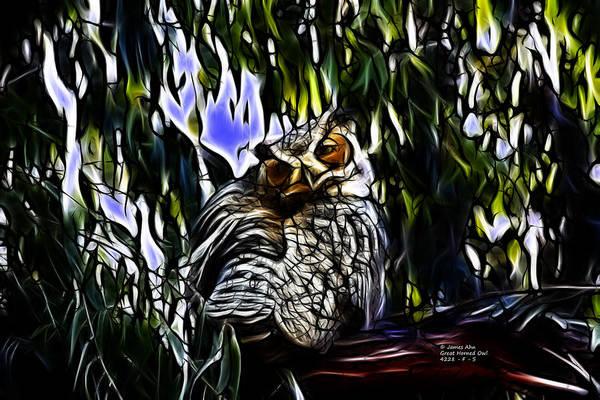 Great Horned Owl - 4228 - Fractal - S Art Print