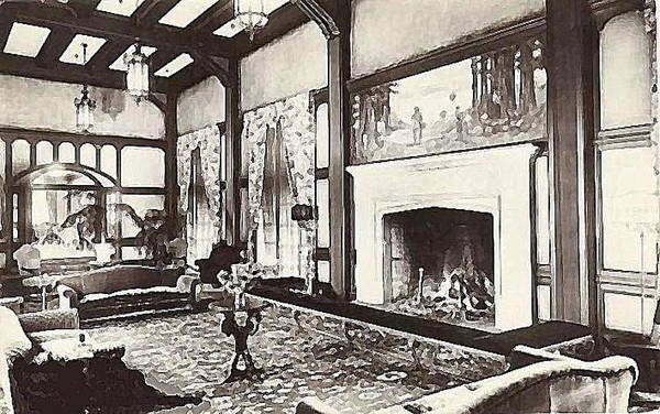 Eureka Painting - Great Lounge In The Eureka Inn California 1920 by Dwight Goss