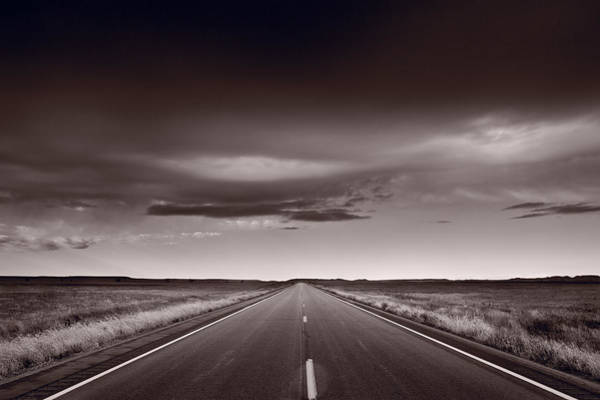 Road Photograph - Great Plains Road Trip Bw by Steve Gadomski
