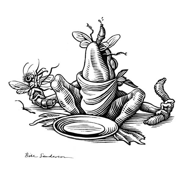 Linocut Wall Art - Photograph - Greedy Frog, Conceptual Artwork by Bill Sanderson