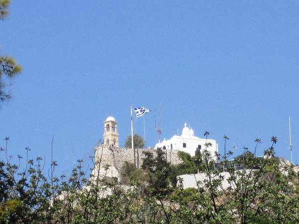 Photograph - Greek Flag And Church Atop The Hill In Athens Greece by John Shiron