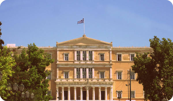 Photograph - Greek Parliament Building And Flag In 1960s Style View In Athens Greece by John Shiron