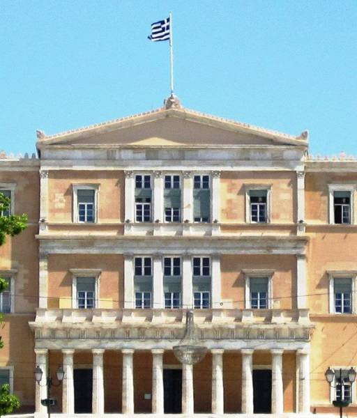 Photograph - Greek Parliament Building And Flag In Athens Greece by John Shiron