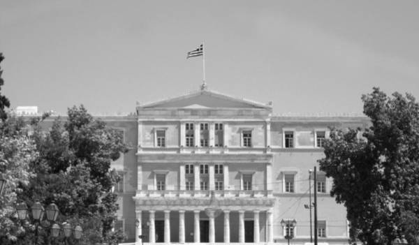 Photograph - Greek Parliament Building And Flag In Black And White In Athens Greece by John Shiron