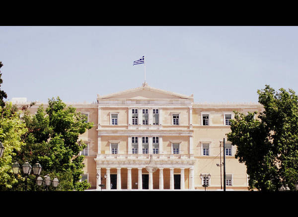 Photograph - Greek Parliament Building And Flag In Cinemascope View In Athens Greece by John Shiron