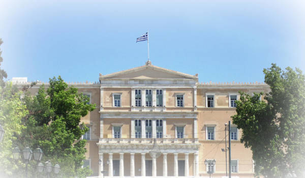 Photograph - Greek Parliament Building And Flag In Oval White Silhouette In Athens Greece by John Shiron