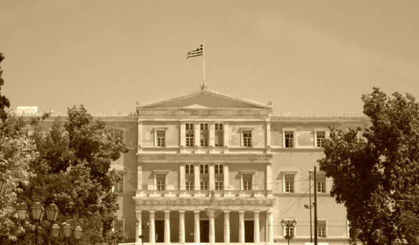 Photograph - Greek Parliament Building And Flag In Sepia In Athens Greece by John Shiron