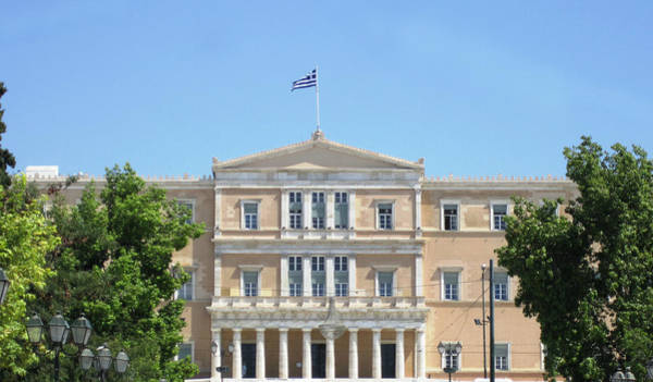 Photograph - Greek Parliament Building II And Flag In Athens Greece by John Shiron