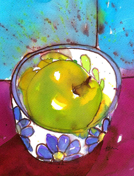 Painting - Green Apple In Blue Floral Bowl by Tracy-Ann Marrison
