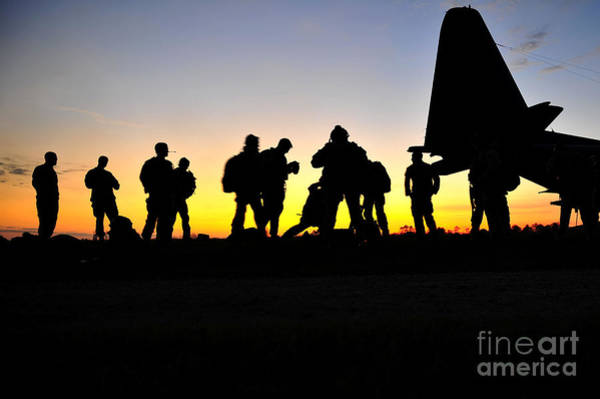 Photograph - Green Berets Prepare To Board A Kc-130 by Stocktrek Images