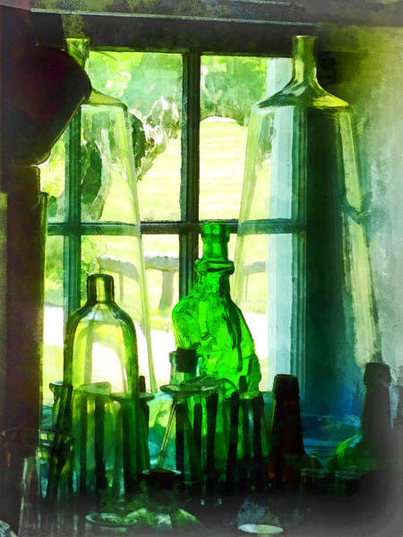 Photograph - Green Bottles On Windowsill by Susan Savad