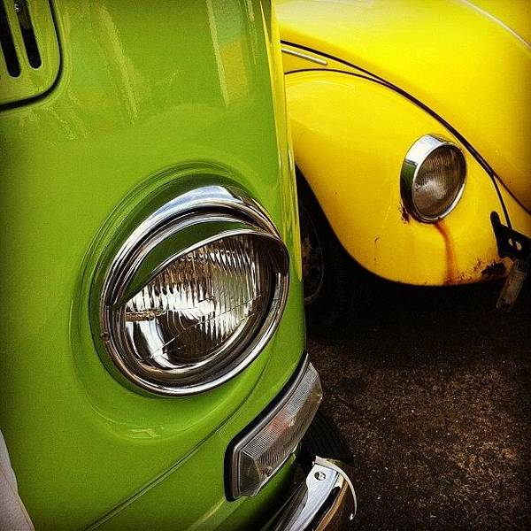 Vw Kombi Photograph - Green Bus, Yellow Bug :) by Jimmy Lindsay