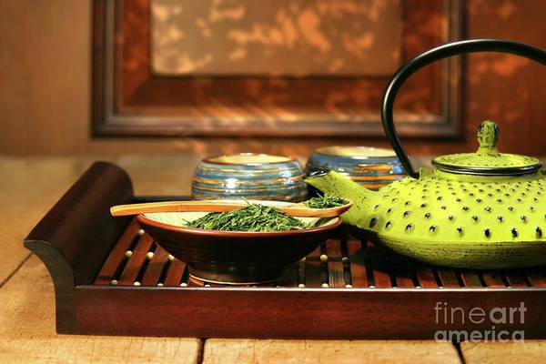 Traditional Chinese Medicine Wall Art - Photograph - Green Cast Iron Teapot by Sandra Cunningham