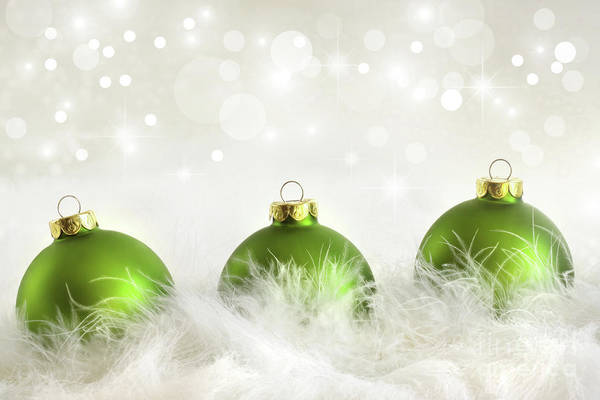 Wall Art - Photograph - Green Christmas Balls by Sandra Cunningham