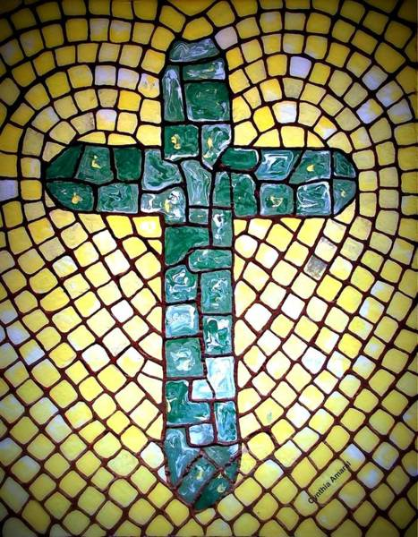 Art Print featuring the painting Green Cross by Cynthia Amaral