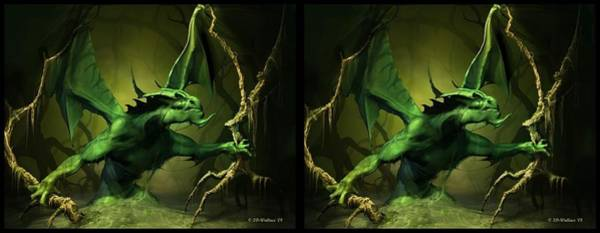 Stereoscopy Digital Art - Green Dragon - Gently Cross Your Eyes And Focus On The Middle Image by Brian Wallace