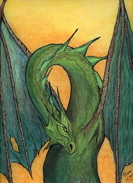 Mixed Media - Green Dragon by N Kirouac