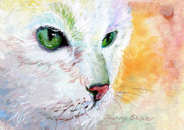 Painting - Green Eyes by Sherry Shipley