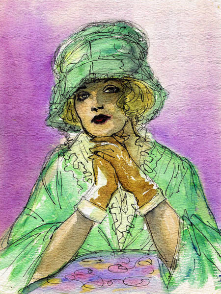 Flappers Drawing - Green Hat by Mel Thompson