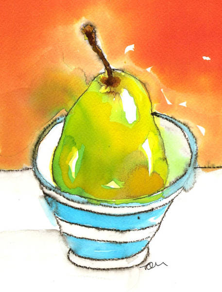 Painting - Green Pear In Blue Striped Bowl by Tracy-Ann Marrison