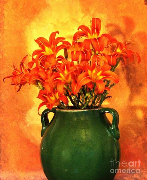 Tigerlily Wall Art - Photograph - Green Pottery With Tigerlilies by Marsha Heiken