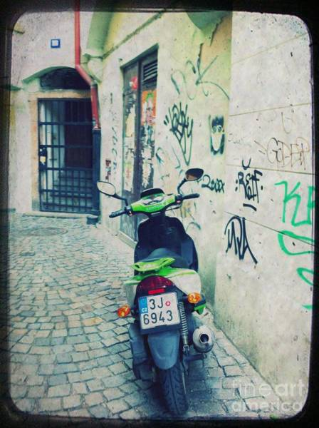Travel Mixed Media - Green Vespa In Prague by Linda Woods