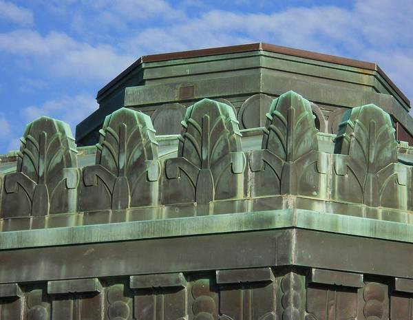 Wall Art - Photograph - Griffith Park Observatory  Art Deco Copper Floral Motif by Eve Paludan