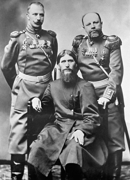 Imperial Russia Photograph - Grigori Rasputin With Russian Soldiers by Ria Novosti