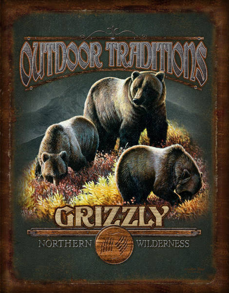 Pine Trees Painting - Grizzly Traditions by JQ Licensing