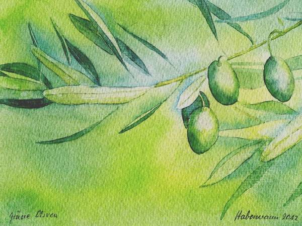 Olive Oil Painting - gruene Oliven by Thomas Habermann