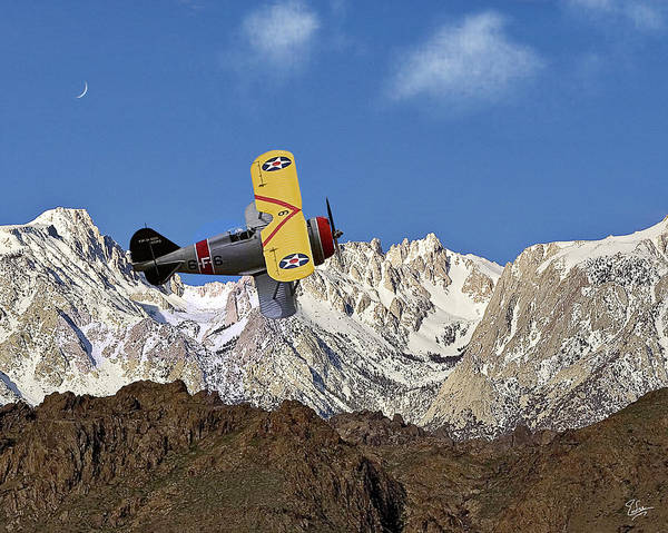 Photograph - Grummon F3f Navy Fighter Over Mount Whitney by Endre Balogh