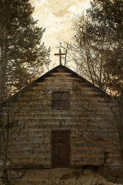 Wall Art - Photograph - Grungy Hand Hewn Log Chapel by John Stephens