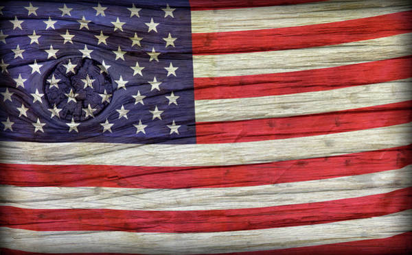 Wall Art - Photograph - Grungy Textured Usa Flag by John Stephens