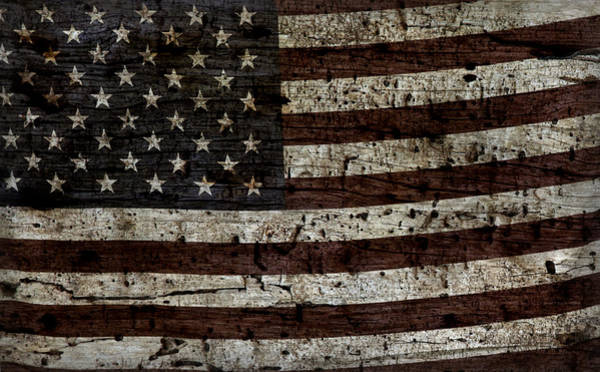 Wall Art - Photograph - Grungy Wooden Textured Usa Flag2 by John Stephens
