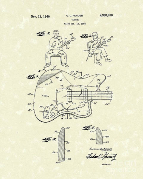 Drawing - Guitar 1960 Patent Art by Prior Art Design