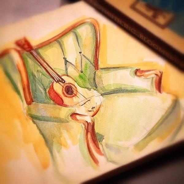 Brush Wall Art - Photograph - #guitar On Green #chair #watercolor by Jeff Reinhardt