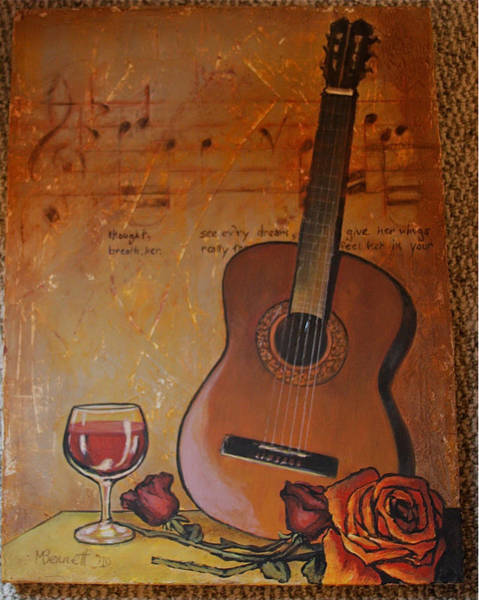 Spanish Wine Painting - Guitar Wine And Roses by Martha Bennett