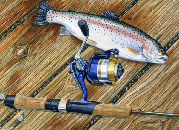 Trout Watercolor Wall Art - Painting - Gull Lake Dock by Mark Jennings