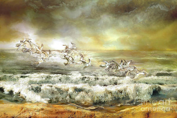Baltic Sea Painting - Gulls On The Sea by Anne Weirich