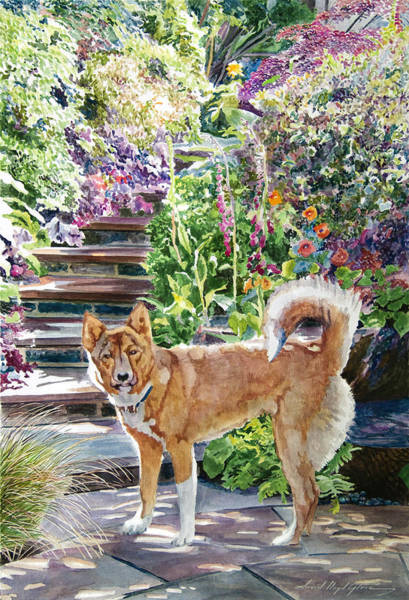 Wall Art - Painting - Hachiko In The Garden by David Lloyd Glover