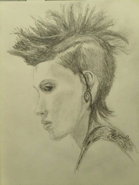 Hairdo Drawing - Hair Style by Nicolas Bouteneff