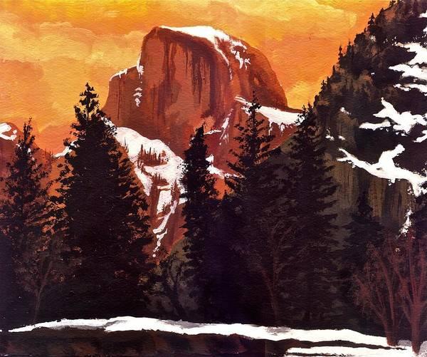 Coolidge Painting - Half Dome Sunset by Sara Coolidge