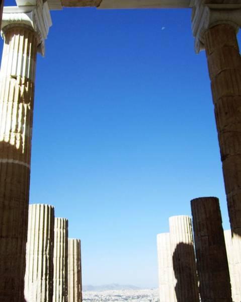 Photograph - Half Moon Blue Sky At Acropolis Parthenon Tall Pillars In Athens Greece by John Shiron