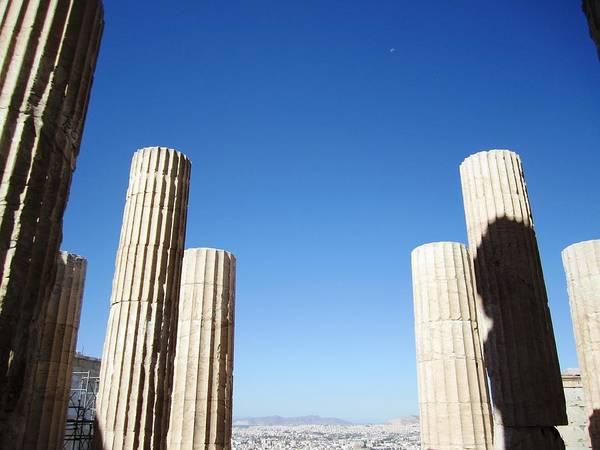 Photograph - Half Moon Blue Sky IIi At Acropolis Parthenon Tall Pillars In Athens Greece by John Shiron