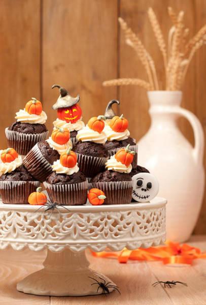 Fairy Cake Wall Art - Photograph - Halloween Chocolate Muffins by Amanda Elwell