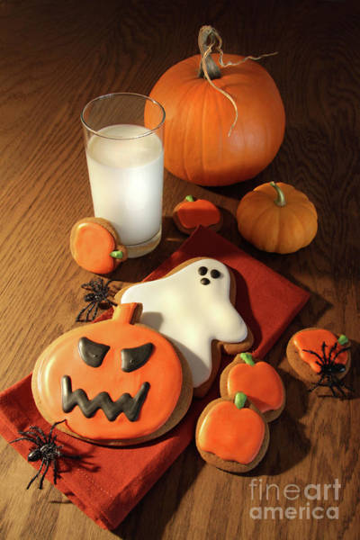 Wall Art - Photograph - Halloween Cookies With A Glass Of Milk by Sandra Cunningham