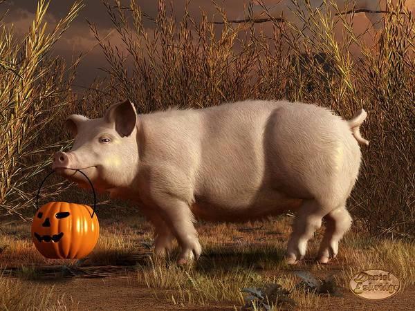 Bbq Digital Art - Halloween Pig by Daniel Eskridge
