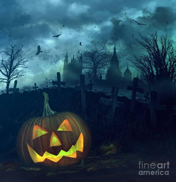 Photograph - Halloween Pumpkin In Spooky Graveyard by Sandra Cunningham